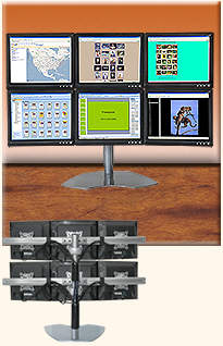 Computer Monitor Stand with Six LCD Monitors